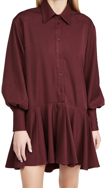 En Saison Button Down Shirtdress in burgundy