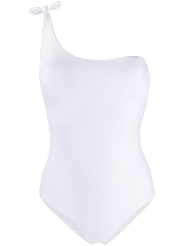 Fisico one-shoulder swimsuit in white