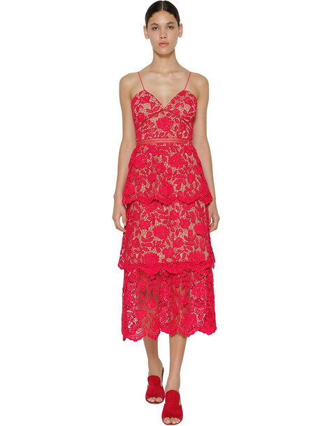 SELF-PORTRAIT Azalea Flower Lace Midi Dress in red