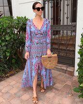 dress,maxi dress,long sleeve dress,blue dress,flat sandals,wood,handbag