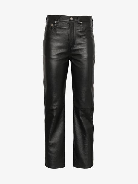 Saint Laurent Cropped leather boyfriend fit trousers in black