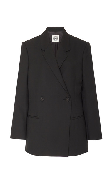 Toteme Loreo Oversized Double-Breasted Wool-Blend Blazer Size: XS in black
