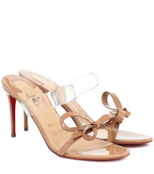 Christian Louboutin Just Nodo 85 PVC and patent-leather sandals in beige