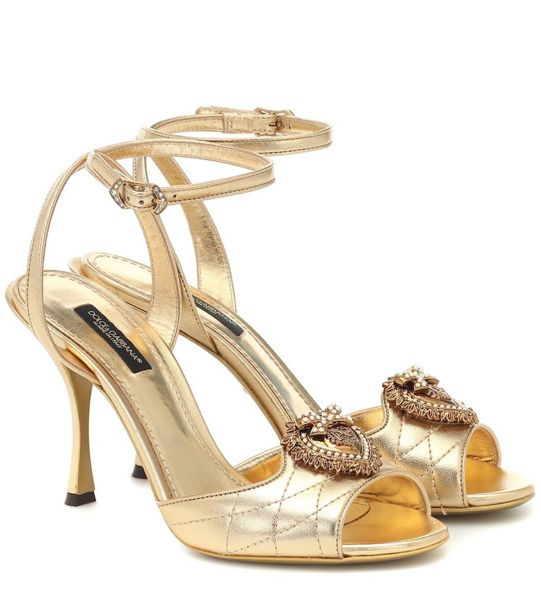 Dolce & Gabbana Devotion metallic leather sandals in gold