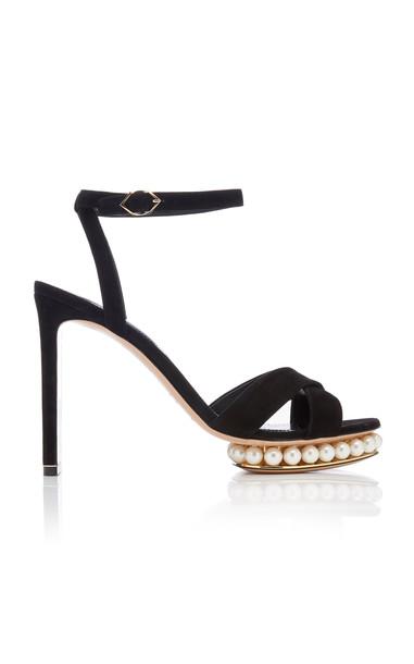 Nicholas Kirkwood Casati Embellished Leather Platform Sandals in black