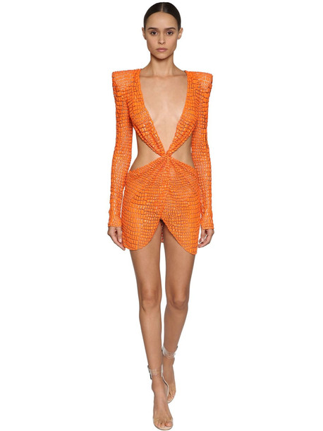 JULIEN MACDONALD Cut Out Bead Embellished Mini Dress in orange