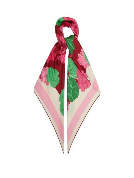 Gucci - X Ken Scott Floral-print Silk Scarf - Womens - Pink Multi