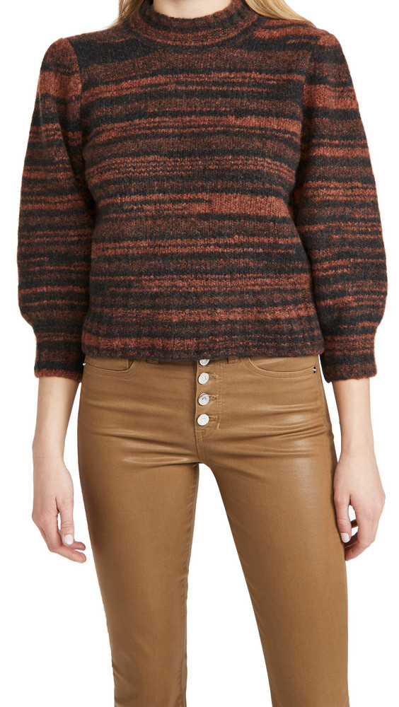 Veronica Beard Lumina Crew Neck Pullover in orange / multi