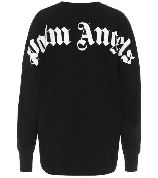 Palm Angels Logo cotton sweatshirt in black