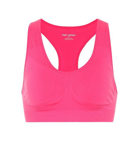 Tory Sport Seamless racerback sports bra in pink