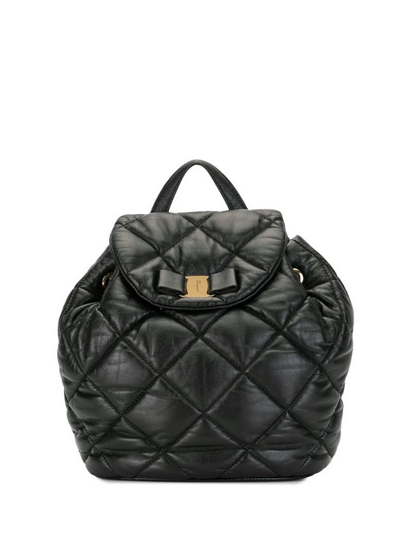 Salvatore Ferragamo Pre-Owned Vara bow quilted backpack in black