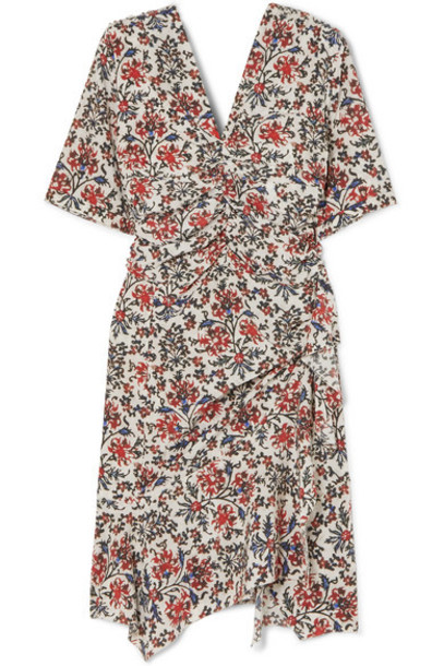 Isabel Marant - Arodie Ruched Floral-print Silk-blend Crepe Dress - Red