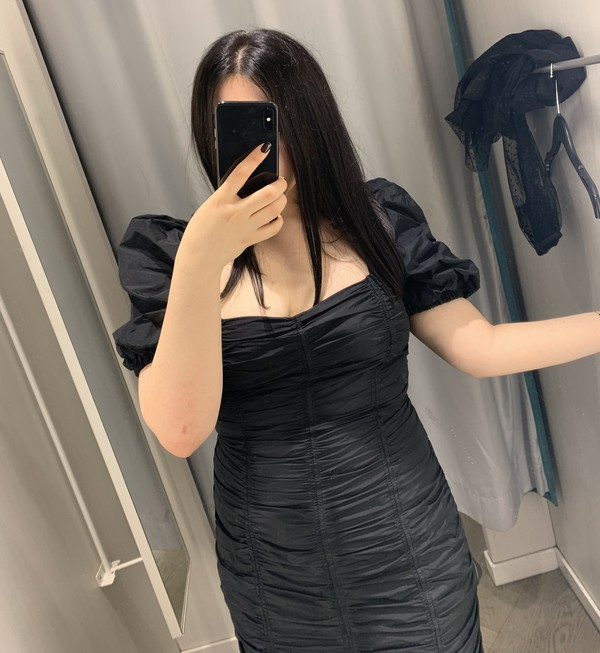 dress black dress draped dress h and m