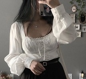 shirt,white,flowy,cute,ootd,feminine,korean fashion,string