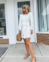 dress,white dress,midi dress,long sleeve dress,flat sandals,handbag,wood