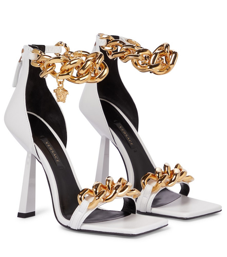 Versace Embellished leather sandals in white