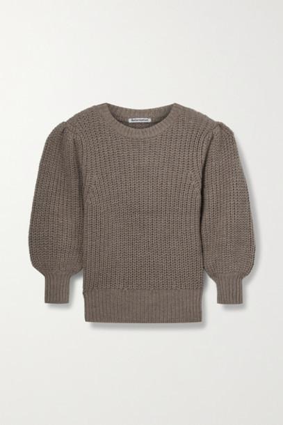 Reformation - Moneta Ribbed Alpaca Sweater - Light brown
