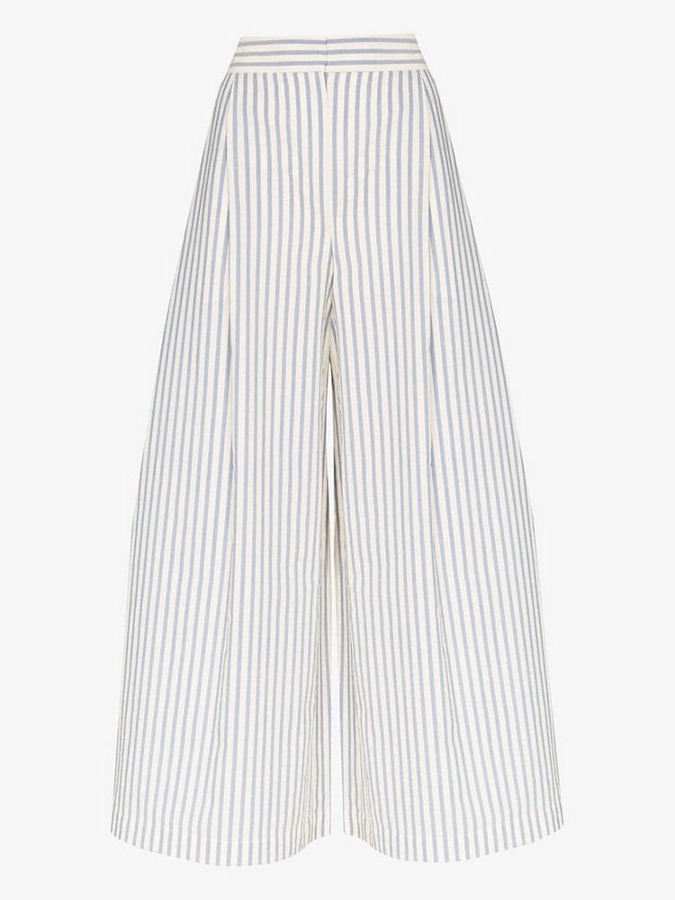 Vika Gazinskaya pinstriped cropped wide leg trousers in blue