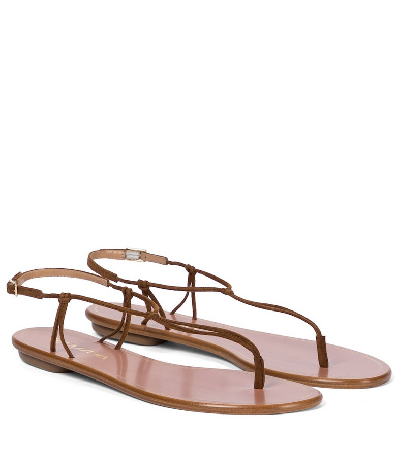 Aquazzura Very Capri suede thong sandals in brown
