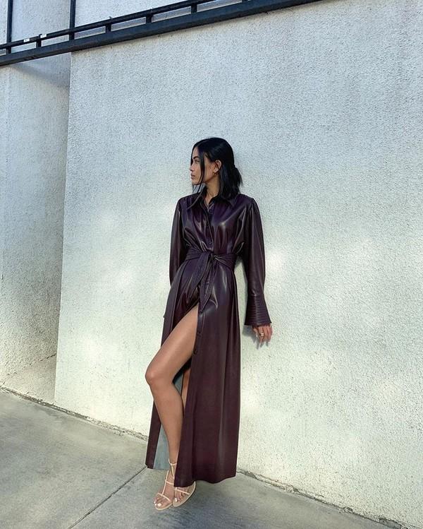dress maxi dress leather dress white sandals