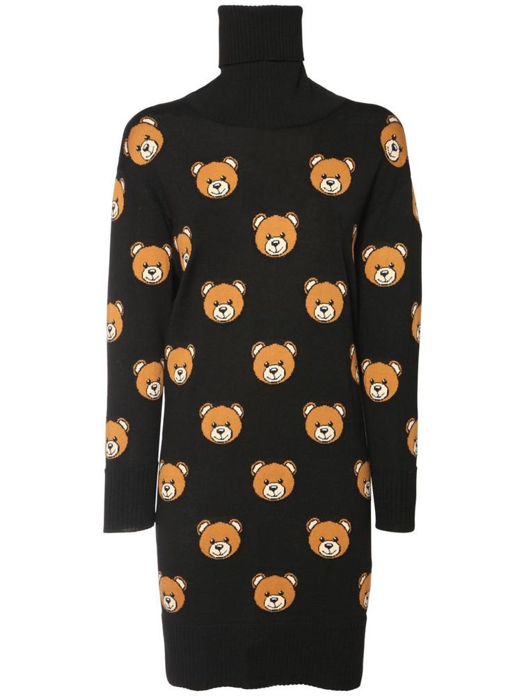 MOSCHINO Intarsia Teddy Wool Knit Dress in black / multi