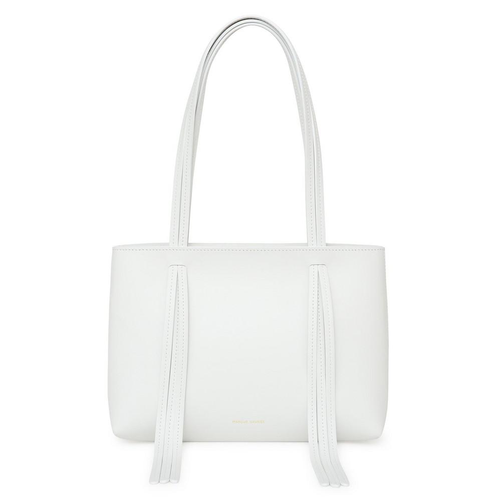 Mansur Gavriel Calf Mini Fringe Bag - White