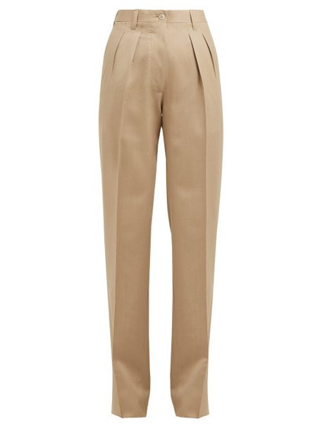 Giuliva Heritage Collection - The Adele Straight Leg Wool Trousers - Womens - Beige