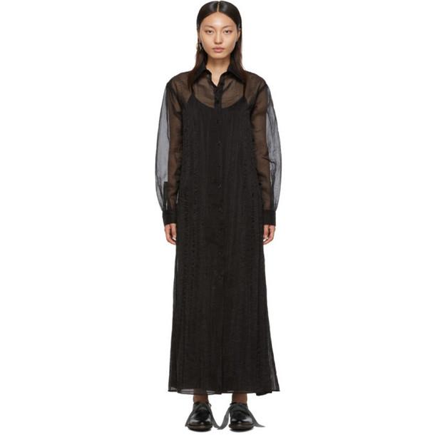 Maison Margiela Black Organza Long Shirt Dress