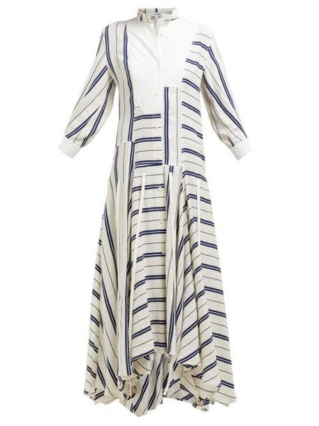 Loewe - Handkerchief Hem Striped Linen Blend Midi Dress - Womens - White Navy
