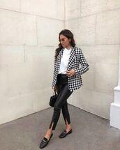 jacket,blazer,houndstooth,black leather pants,loafers,black bag,white t-shirt