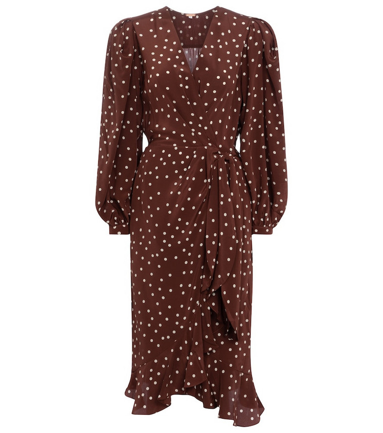 Johanna Ortiz Geography Of Life polka-dot crêpe wrap dress in brown