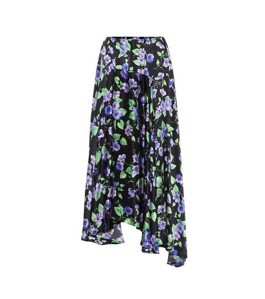 Balenciaga Floral silk midi skirt in black