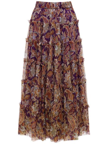 ZIMMERMANN Ladybeetle Tiered Silk Midi Skirt in purple / multi