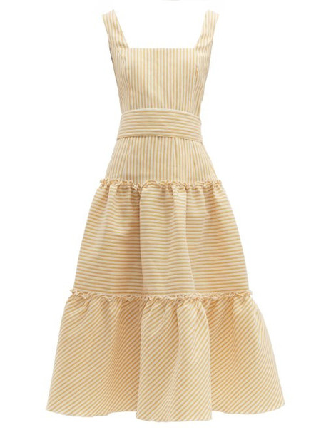 Luisa Beccaria - Belted Tiered Linen Blend Midi Dress - Womens - Yellow