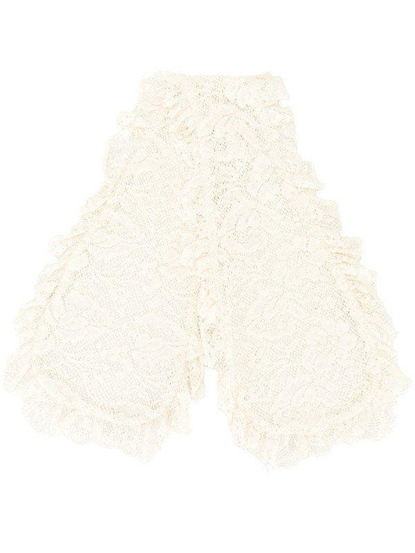 yuhan wang floral-lace cotton scarf in white