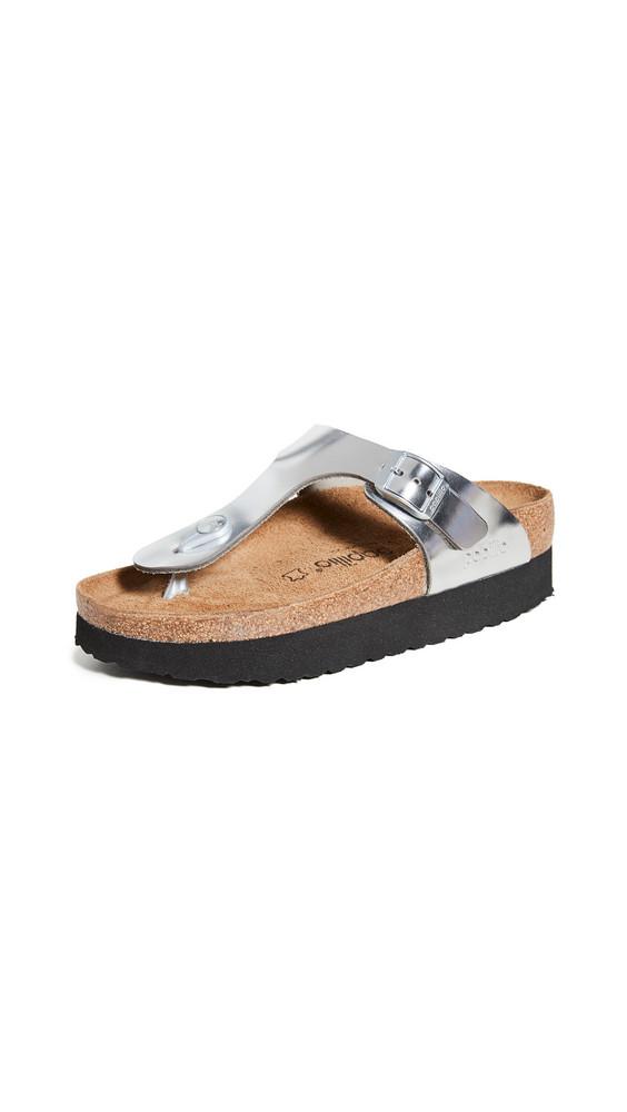 Birkenstock Gizeh Platform Sandals-Regular in metallic / silver