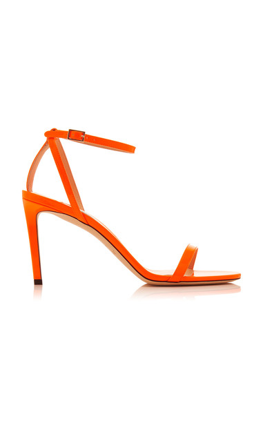 Jimmy Choo Minny Neon Patent Leather Sandals in orange