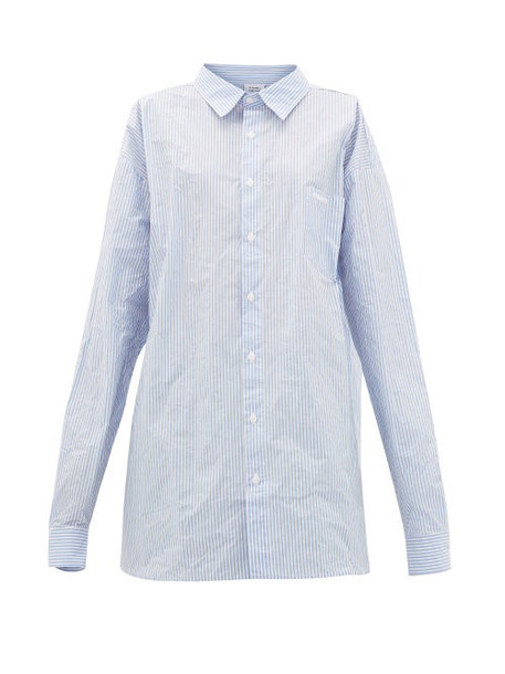 Vetements - Striped Paper-poplin Shirt - Womens - Blue White
