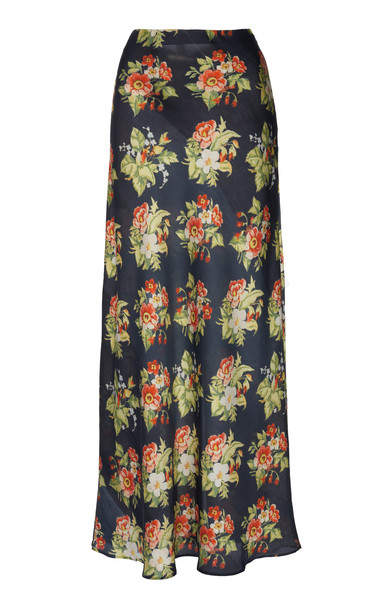 Paco Rabanne Floral-Print Satin Skirt Size: 36 in black