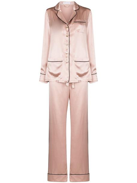 Olivia von Halle contrast trim silk pajama set in pink