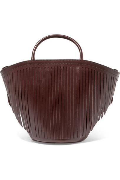 Trademark - Fringed Leather Tote - Burgundy