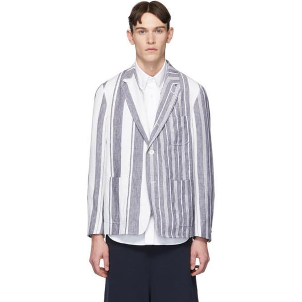 Thom Browne Navy & White Unconstructed Patch Pocket Blazer