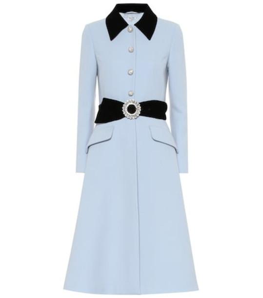 Miu Miu Velvet-trimmed wool coat in blue