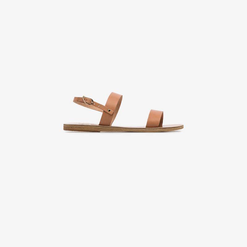 Ancient Greek Sandals brown Clio double strap sandals