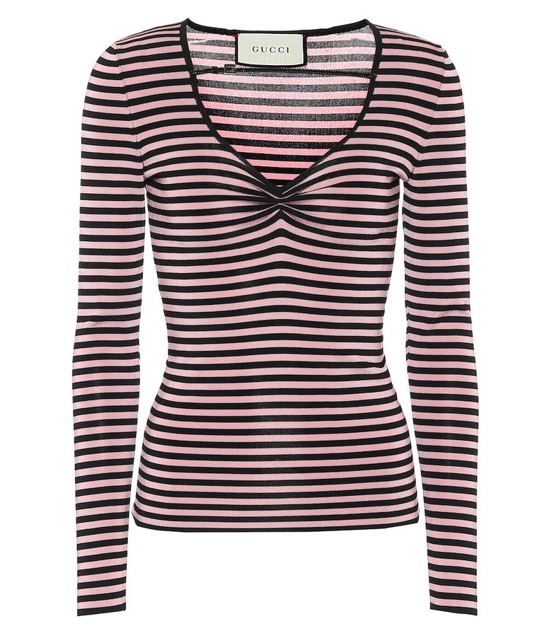 Gucci Striped lamé top in pink