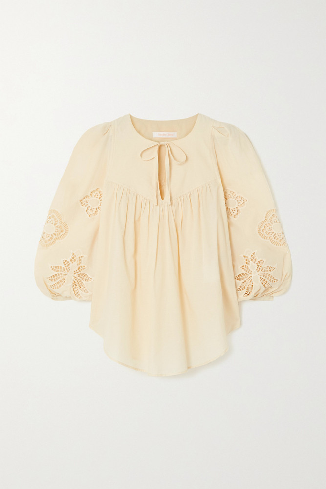 SEE BY CHLOÉ SEE BY CHLOÉ - Broderie Anglaise Cotton-voile Blouse - Cream
