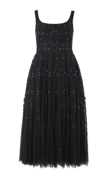 Needle & Thread Snowflake Sleeveless Sequin Dress in black