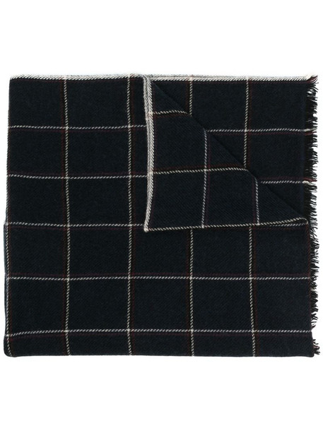 Isabel Marant check wool-cashmere scarf in blue