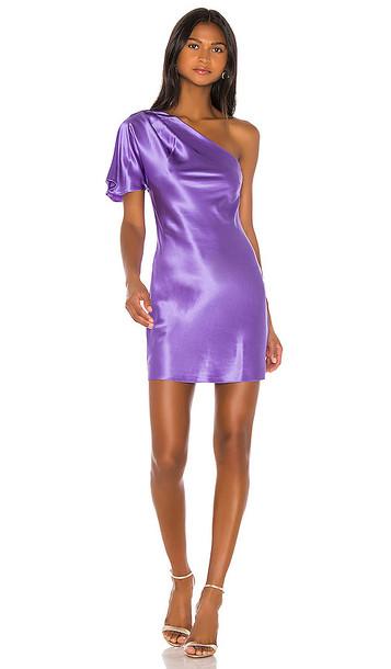 fleur du mal One Shoulder Bias Mini Dress in Purple