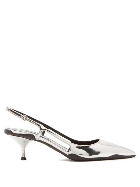 Prada - Slingback Patent Leather Kitten Heels - Womens - Silver